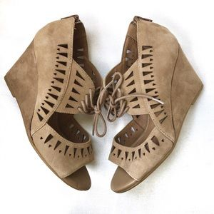 SOFFT Yardley Wheat Suede Cut Out Tie Wedges